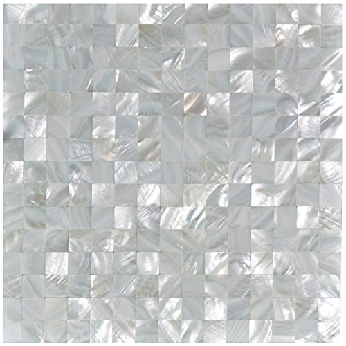 Art3d Mother of Pearl Oyster White Mini Square 12 X 12 Mosaic Tiles Seamless Splice by Art3d - White Oyster