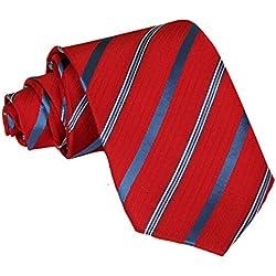 Panegy Corbata de Rayas -145cm para Hombre Color Rojo