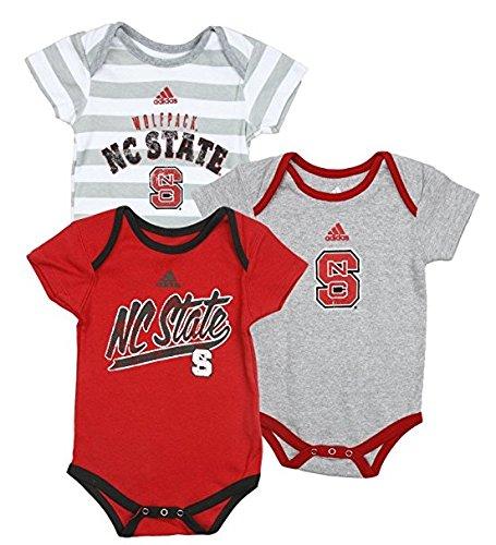 North Carolina State University Wolfpack NCAA Unisex Baby Infant Lil Fan 3-teiliges Strampler-Set, Rot-grau-weiß grau Streifen, Jungen, Red Grey White (Infant Baseball Jersey)