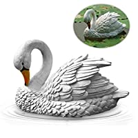 Cathy02Marshall Simulation White swan Sculpture Hand Made Outdoor Garden Fish Pond Decor, Waterscape Rockery Flower Bed and Patio Landscaping Effect Garden Ornaments Sculpture Ornament Best Service
