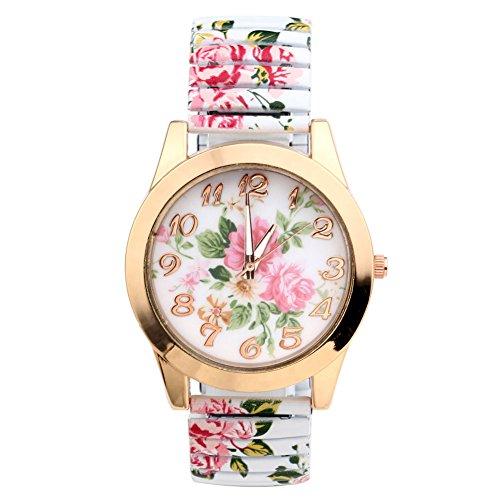 JSDDE Uhren, Damenmode Pfingstrosen Blume Armbaduhr,Basel-stil Flexband Quarzuhr(Weiß) - 2