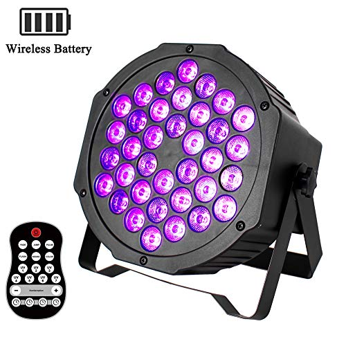 UKing Schwarzlicht LED Eingebaute Batterie 72W UV LED Strahler DMX Par Licht mit Funkfernbedienung UV Beleuchtung für DJ Disco Club Birthday Partylicht (Wiederaufladbar)