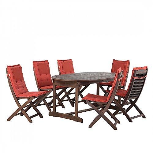 Gartenmöbel - Balkonmöbel - Holzmöbel - Tisch + 6 Stühle + 6 Terracotta Auflagen – MAUI