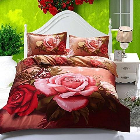 CELO Wind Tanz Schmetterling Heimtextilien Bettwäsche Quilt 4 Sätze 3D Rose Bett Auskleidungen 1 Duvet Cover 1 Flat Sheet 2 (Rosen Quilt Muster)