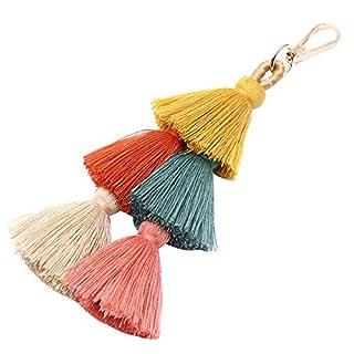 Outflower Elegante Leder Quaste Anhänger Legierung Schlüsselanhänger Handtaschen Taschen Ornament Schlüsselbund für Geschenk (Schwarz)