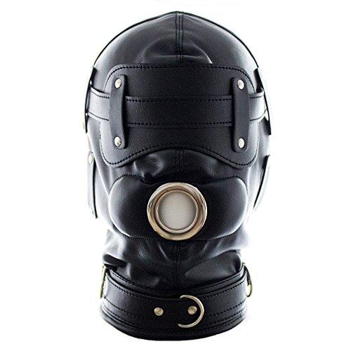 MAMOHSS Unisex Leder Punk Gothic Vollmaske Kapuze Reißverschluss Augen Mund Schnürung Rücken Halloween Kostüm Helme (Reißverschluss Auge Kostüm)