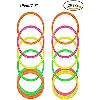 RETON 20 piezas multicolores anillos de lanzamiento de plástico para juegos de práctica de velocidad y agilidad (19cm)