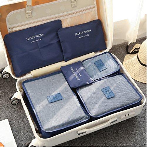 6 Set Packtaschen Kofferorganizer Reisetasche Beutel Kleidertasche Kulturtasche Schuhtasche Koffer Organizer Aufbewahrungstasche aus Nylon HIMMELBLAU Dunkelblau