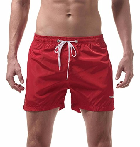 ☼ZEZKT-Herren Wassersport kurze Hose Mens Swim Trunks Dünn für Schwimmen Boxer Sport Männer Badehose Sexy Unterwäsche Schwimmhose Boardshorts Badeshorts Slimline Männer Bademode (M, Rot) (Trikot Gefüttert)