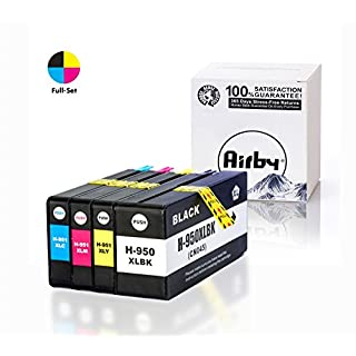 Airby Compatible HP 950XL and HP 951XL Ink Cartridges with NEW UPDATED CHIPS, Work with HP Officejet Pro 8600 8610 8620 8630 8640 8100 8625 8615 251dw 271dw (1-Black, 1-Cyan, 1-Magenta, 1-Yellow)