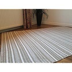 Algodón Kilim alfombra en color beige y blanco rayas geométricas mano tejidas Indian 150cm x 240cm