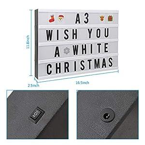 Lichtbox, A3 LED Leuchtkasten mit 150 Buchstaben, Ziffern und Zeichen USB Letter Light Box für Geburtstage, Partys, Hochzeiten, Feste, Hochzeiten