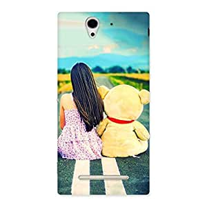 Gorgeous Girl Teddy Multicolor Back Case Cover for Sony Xperia C3
