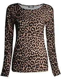 Fast Fashion - Top Manches Longues Imprimé Léopard Animal Stretchy - Femmes