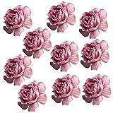 Homyl 10 Stück Seide Rosen Künstliche Blütenköpf Pfingstrose Hochzeit Dekoration Blumenköpfe - Helles Lila, 4cm