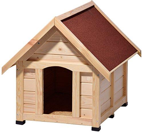 """dobar 55010 Hundehütte """"Peanut"""" XL, Outdoor Hundehaus für große Hunde, Platz für ein Hundebett, wetterfest imprägnierte Hundehöhle mit Spitzdach, 112x97x104 cm, 44kg Holzhütte, Kiefer"""
