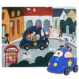 Juguete 2 en 1 - Puzzle Infantil de Madera + Coche de Juguete para Niños y Niñas de 2 3 4 años - Juego de Rompecabezas Educativo que Desarrolla Capacidades Cognitivas en Etapa Preescolar [Policía]
