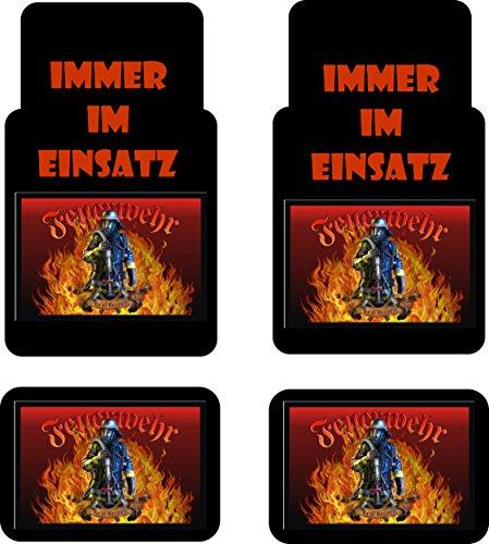 """Auto-Fussmatten bedruckt 4er Set, \""""Feuerwehr\"""" Fussmatte für Auto, bedruckt mit Motiven, auch individuelle Gestaltung"""