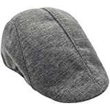 Mens Womens Flax Beret Cap Newsboy Flax Sunscreen Hat Cabbie Driving Hat British Style Peaked Cap (Grey)