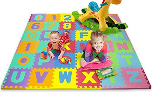 Matney Foam Mat of Alphabet and Number Puzzle Pieces with Borders Included- Great for Kids to Learn and Play - 36 Tile Pieces by Matney