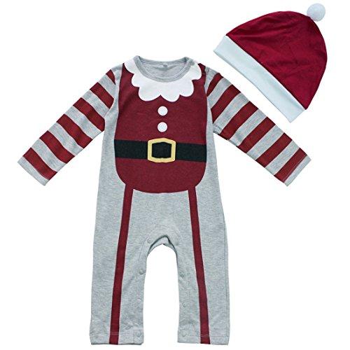 iiniim Baby Jungen Strampler Weihnachten Party Spielanzug Overall Langarm Baby Weihnachtsstrampler mit Hut Grau 68-74/0-6 Monate (Tolle Party Kostüme)