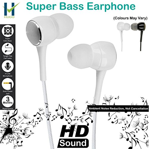 Hugo™ Stereo Earphone Hands-Free 3.5Mm Jack In-Ear Super Extra Bass Headphone Headset With Mic Compatible with Samsung, Motorola, Sony, Oneplus, HTC, Lenovo, Nokia, Asus, Lg,Oppo,Vivo, Coolpad, Xiaomi, Micromax and All Mobiles (Colours May Vary)  available at amazon for Rs.149