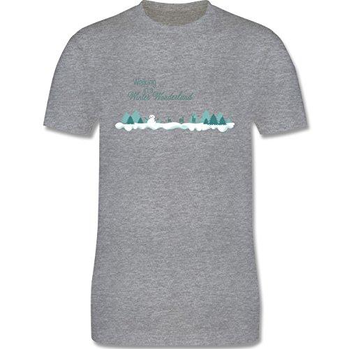 Weihnachten & Silvester - Walking in a Winter Wonderland Schnee - Herren Premium T-Shirt Grau Meliert