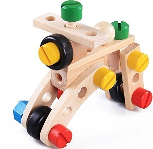 Wooden Building Toy. Large chunky colour nuts & bolts engineering builders,construction toys for boys and girls. Preschool kids educational games, learning resources 30 piece construction builders set for children activities.