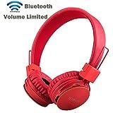 Multifunktionale faltbare tragbare Bluetooth Headset für Kinder , Termichy Wireless/ verdrahtet Dual- fähig On-Ear-Stereo-Kopfhörer Unterstützung MicroSD-Karte / FM-Radio, Eingebautes Mikrofon für die Freisprechfunktion für Smartphone, Tablet PC, Mac und Laptop, Rot