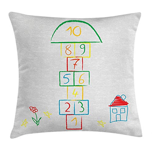 BUZRL Hopscotch Throw Pillow Cushion Cover, Childish Style Doodle Sketch House Flower and Stars Numeral Squares Fun Design, Decorative Square Accent Pillow Case, 18 X 18 inches, Multicolor