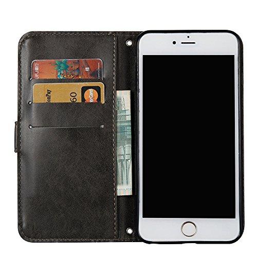 Linvei Coque iPhone 6 Plus(5.5inch) Flip Case housse Téléphone Portable Étui de Protection Rabattable Style Flip Cover PU Cuir avec Fermeture Aimantée -Vert Foncé Noir