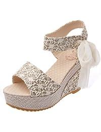 Sandalen Keilabsatz FNKDOR Damen Mode Outdoor Peep-toe Offene Pumps Schuhe