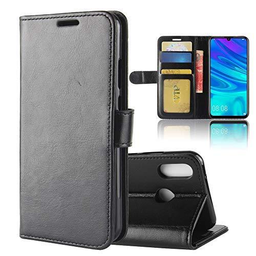 LAGUI Hülle, für Huawei Y7 2019, Schlichtes Aber Edles Brieftasche Handyhülle Mit Kartenfächern Fach und Magnetische Verschluss. schwarz
