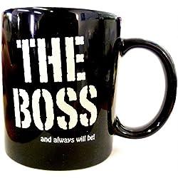"""Taza de desayuno en caja regalo con mensaje """"El jefe"""" (en inglés, cerámica, 320 ml), color negro"""
