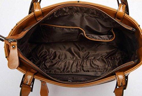 Öl Wachs Haut Damen Handtasche Eimer Tasche Europäischen Stil Schultertasche Liu Nagel Red