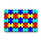 Doormat No.01 coloré sensibilisation à l'autisme pièces de puzzle Intérieur/extérieur en caoutchouc antidérapant Paillasson Paillasson 45,7x 76,2cm