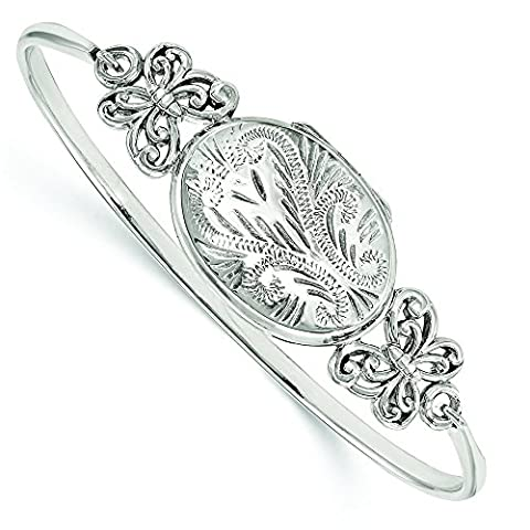 Argent sterling poli Papillon 26mm Médaillon Bracelet