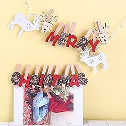 Amphia - Kleidungsfotopapierstiftwäscheklammerhandwerk-hölzerner Klipp der frohen Weihnachten hölzernes,Weihnachtsclip aus Holz