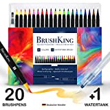 BrushKing - Brush Pen Set Pinselstifte. Pinselstift-Set mit 20 Farben und einem befüllbaren Wassertankpinsel. Für Kalligraphie, Bullet Journal, Hand-Lettering, Watercolor / Aquarell-Zeichnungen