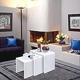 HOMFA Lanshaus 3er-Set Satztisch Beistelltisch Sofatisch Blumenhocker Kaffeetisch Couchtisch Teetisch, 80kg-100kg, -