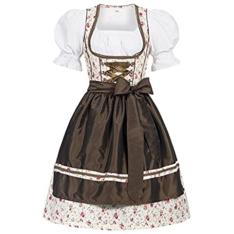 3 piece Erna flower print traditional dirndl set: dress, blouse and apron for Oktoberfest, carnivals or theme parties Size