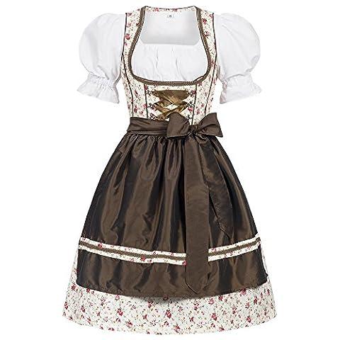 3 piece Erna flower print traditional dirndl set: dress, blouse