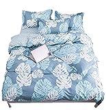 Bettwäsche Set Flamingo Tropischer Betriebslöwenzahn der Ananas Muster Rosa gelb Blau Bettbezug-Set Einzelbett Doppelbett King Size (Bananenblatt A, 220 x 240 cm)