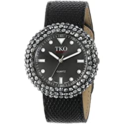 TKO ORLOGI Women's TK618BK Leather Black Crystal Slap Watch