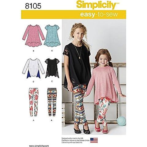 Simplicity del Niño y niñas Knit túnicas y Leggings Patrón de costura, papel