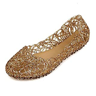 ANDAY Women's Soft Hollow Jelly Beach Summer Flats Sandals Gold