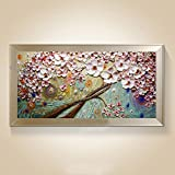 TTKX@ New Handmade Modern Canvas on Oil Painting Palette Knife Tree 3D Flowers Paintings Home Living Room Decor Wall Art,50X100Cm,Navy Blue