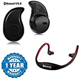 Captcha S530 Mini Wireless Bluetooth 4.0 Headset With Bs19C Wireless Bluetooth On-Ear Sports Headset Suitable With All Android Or Iphone Devices (1 Year Warranty, Color May Vary)