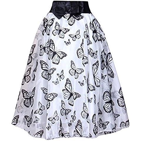 Moollyfox Mujer Sulce Impreso Organza Cintura Elástica Falda del Tutú Con Bowknot