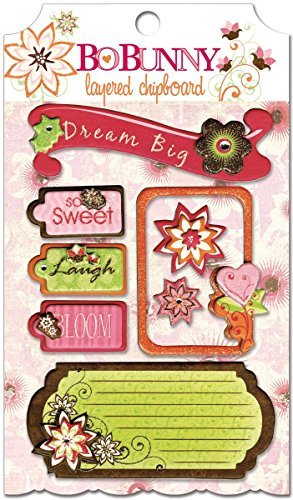 Bo Bunny Press - Vicki B Collection - Layered Chipboard Stickers with Glitter and Jewel Accents by Bo Bunny